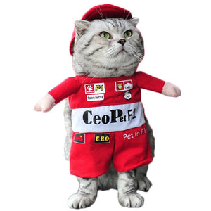 Pet Costume Suit Funny Cat Racer Standing Costume Cosplay Clothes For Small Medium Dogs Puppy Party  Halloween Jacket Coat