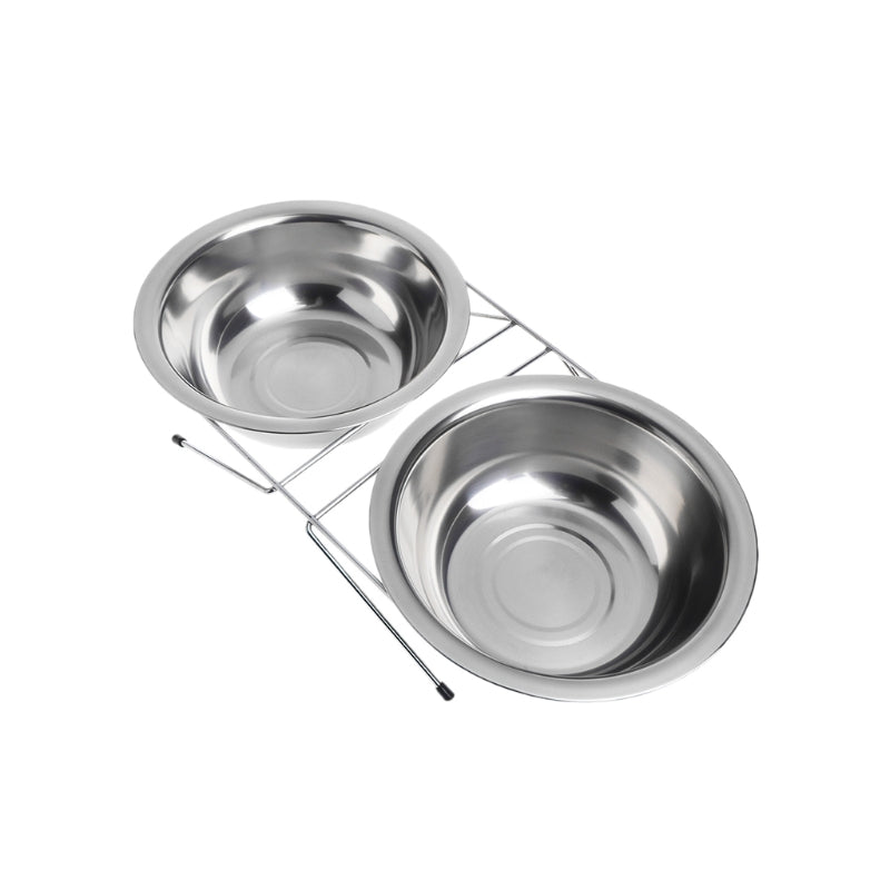 Pet Dog Double Bowl Feeding Cat Puppy Feeder Stainless Steel Food Water Bowls for Cachorro Kitten Kitty Foods Dispenser