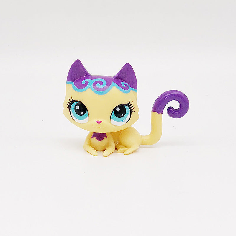 Pet Shop Animal #192 blue eyes Purple yellow long tailed cat doll action Figure cat birthday girl gift toys