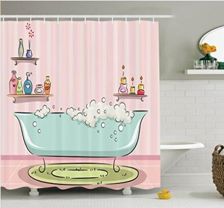 Pug Dog in Bathtub Grooming Doggy Puppy Salon Service Shampoo Polyester Fabric Bathroom Shower Curtain Set with Hook