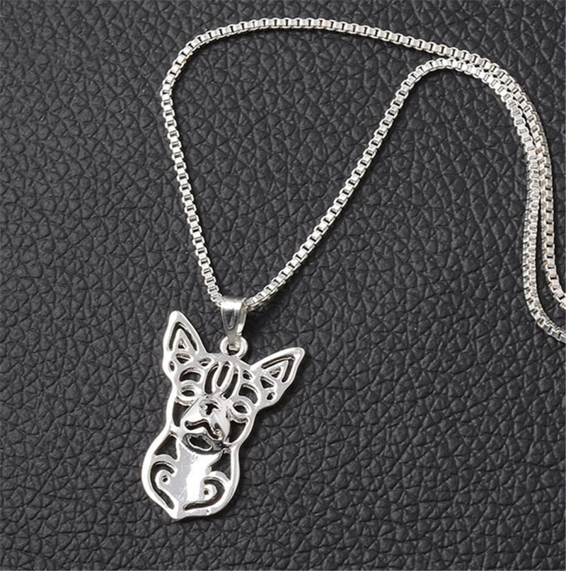 10pcs/lot Small Dog Breed Chihuahua Charm Necklace Hollow Dog Statement Choker Necklace for Women XL-005