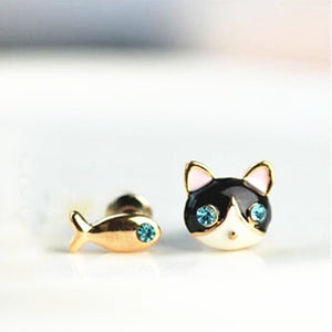 The Korean Jewelry Cute Little Cat and Fish Earring CED320