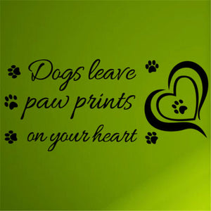 US Dogs Leave Paw Prints On Your Hea Decal Wall Stickers Vinyl Removable Decor