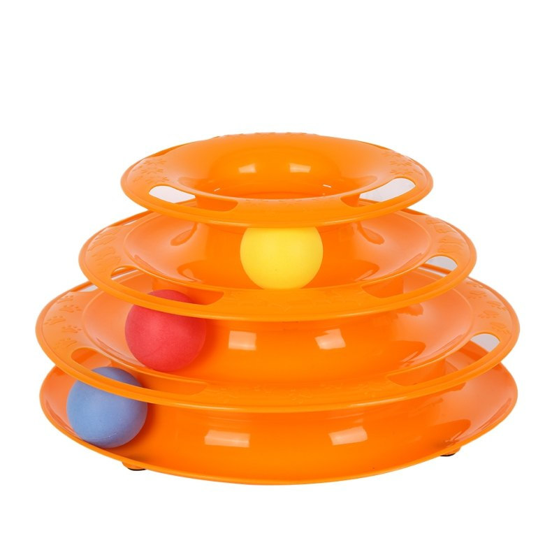 US warehouse 3 Level Funny Pet Toys Cat Cra Ball Disk Interactive Amusement Plate Play Disc Trilaminar Turntable Cat Toy gatos