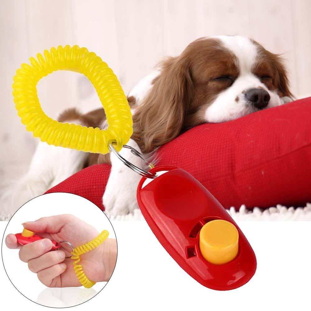 Universal Animal Pet Training Clicker Obedience Aid + Wri Strap Light Weight Dog Tranining Toys Pet Accessories Red Puppy A391