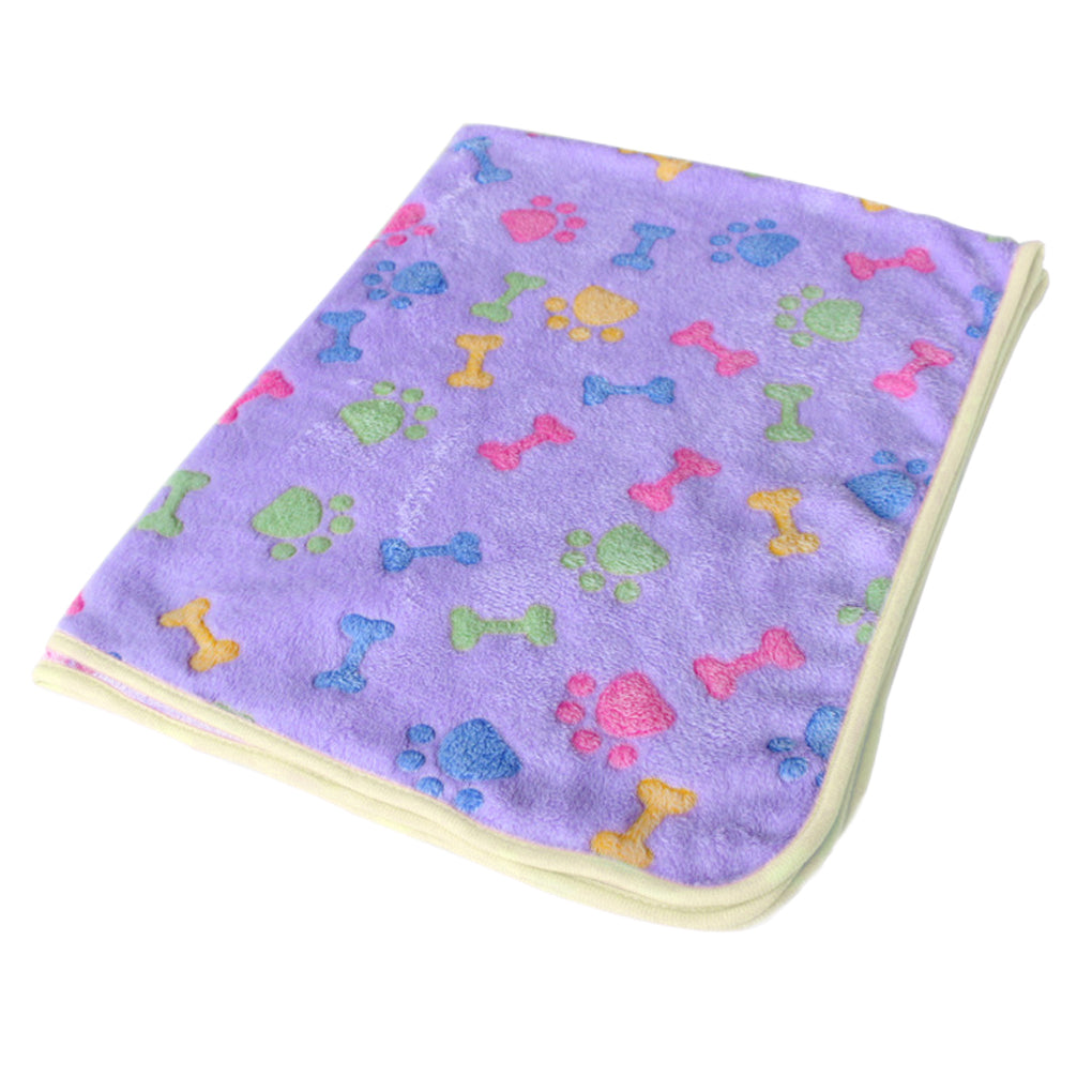Warm Pet Mat Bone Print Cat Dog Puppy Fleece Blanket Bed Cushion Pink Purple