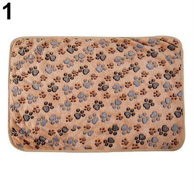 Warm Pet Mat Cat Dog Puppy Paw Bone Printed Soft Fleece Blanket Bed Cushion
