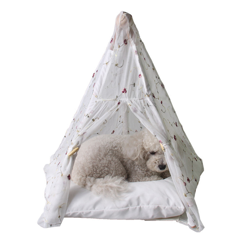 White/Pink Princess Dog Teepee House Cat Dog Bed Portable Dog Tent For Small Dogs With Cushion