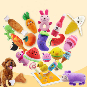 Wholesale 30pcs Fruit Vegetable Chicken Drum Bone Squeak Toy Dog Puppy Plush Red Pepper Eggplant Radish Duck Sounding Pet Toys