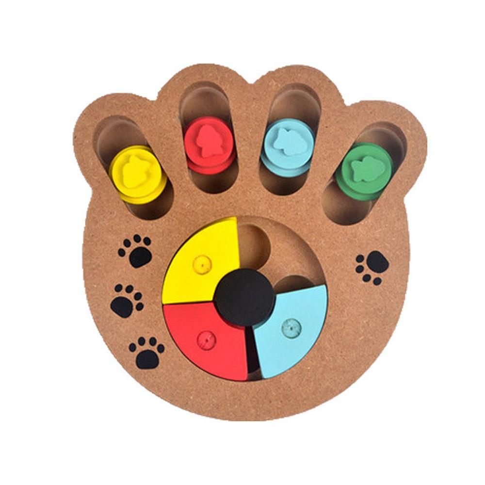 Wooden Interactive Pet Toy Food Treated Bone Claw Cat Dog Toys Feeder Container Anti-depression Pets IQ Training Puzzle Toy