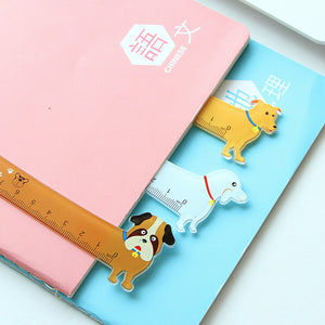 Y57 Kawaii Cute Lovely Puppy Dog Plastic Straight Ruler Study Student Stationery School Supply Promotion Gift