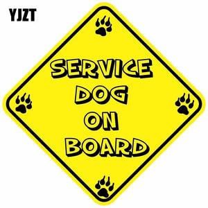 12.7CM*12.7CM Car Sticker SERVICE DOG ON BOARD Warning Mark Lntere Reflective Motorcycle Parts C1- 7355