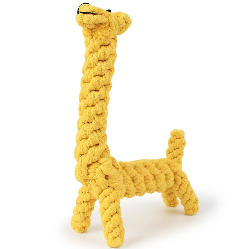 Yellow Cute Giraffe Cotton Rope Clean Tooth Chew Dog Toys Animal Pet Toy