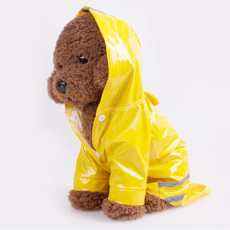Reflective Dog Raincoat Jacket Cover Waterproof PU Puppy Dog Coat for Small Medium Dog Animals Raincoat with Hooded