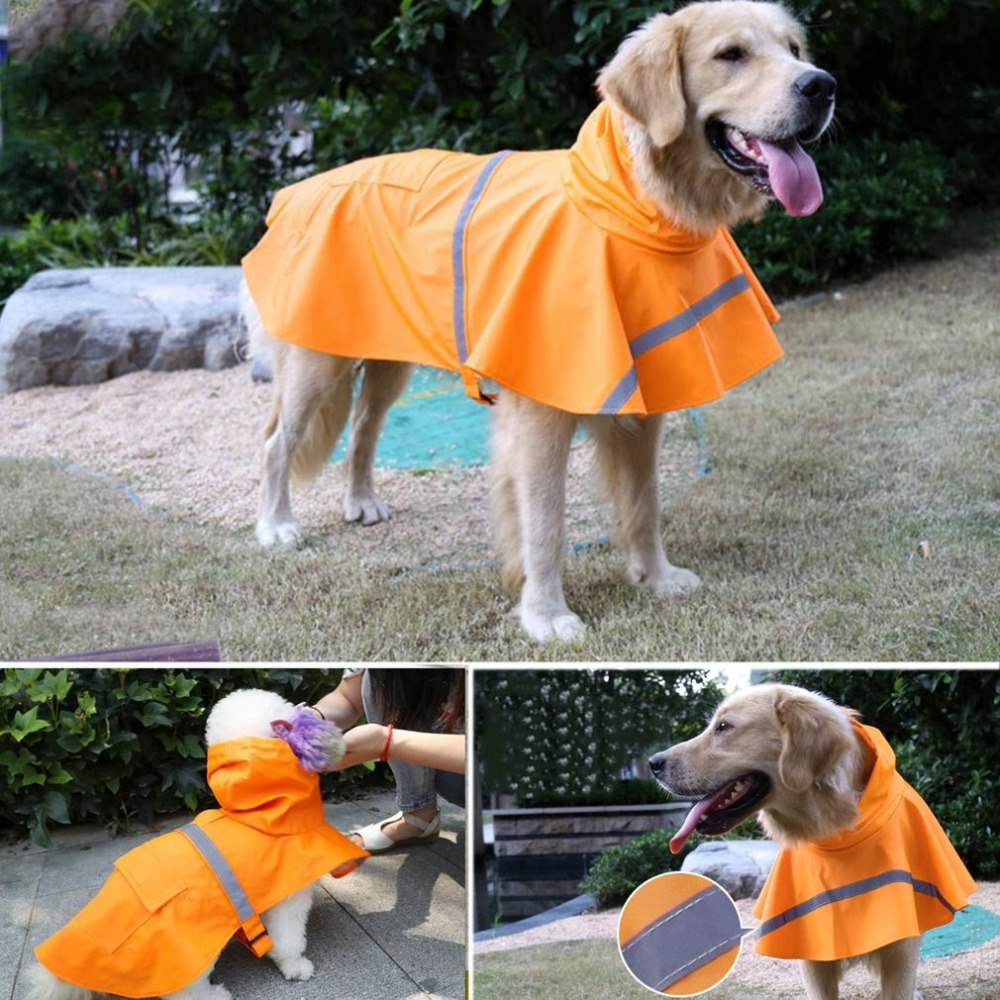 3 Colors Waterproof Dog Raincoat Lightweight Rain Jacket Poncho with Reflective Strip Raincoat for Dogs Large Size Snow Defence