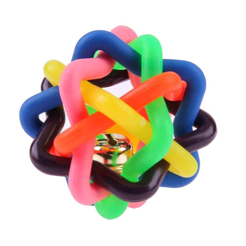 Colorful Rubber Dog Toys Pet Dog Cat Toy Round Woven Ball with Small Bell Toys For Dog Cat Kitten Interactive Peoducts