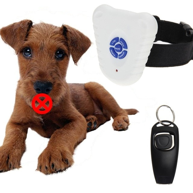 Ultrasonic Dog Anti Bark Collar Barking Training Trainer Control Collar for Dog Pets with Button Dog Clicker Dog Accessories