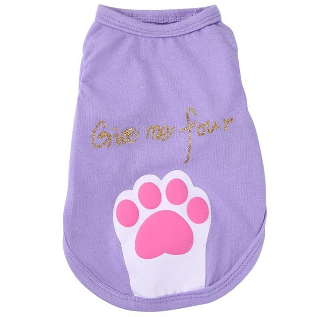 Pet Cloth Dog Clothes Dog Foot Letters Print Clothing Pet Cotton Clothes Dog Vests Casual spring clothes