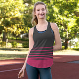 Striped Racerback Tank Top - Pink & Gray