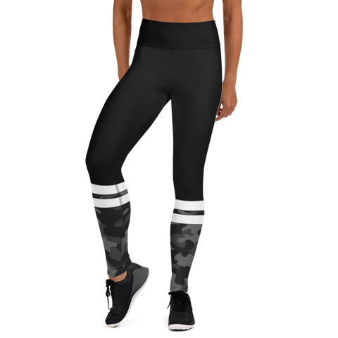 high waist, compression, black camo, yoga pants