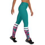 Camo Split Training Leggings - Green & Pink