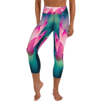 high waist, lotus flower, capri yoga leggings
