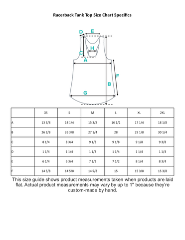 Racerback Tank Top Size Guide