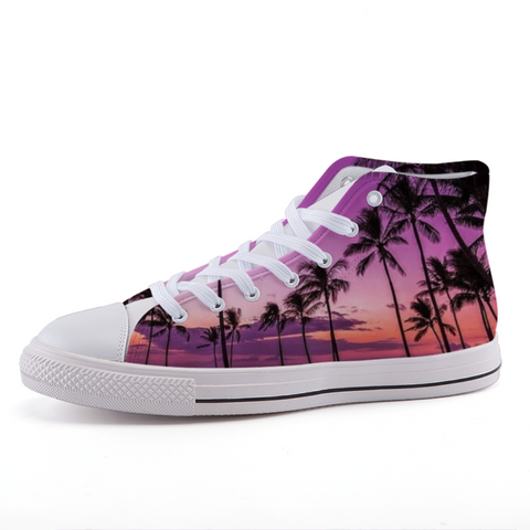 limited edition, custom, high top, tropical, chuck taylor, purple, shoes