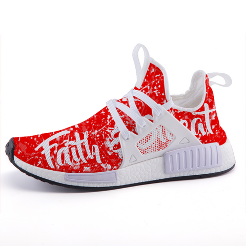 limited edition, custom, faith based, red, workout, running shoes