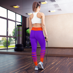Striped Yoga Leggings - Purple and Orange