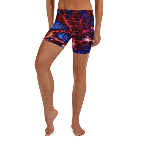 custom red and blue high waist workout shorts