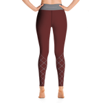 CrissCross Yoga Leggings - Maroon & Gray
