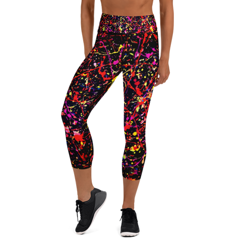 High waist capri yoga leggings with colorful splatter paint design. high quality