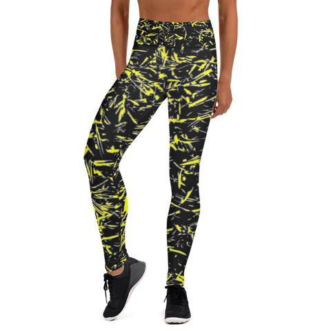 Splatter Leggings - Black and Yellow