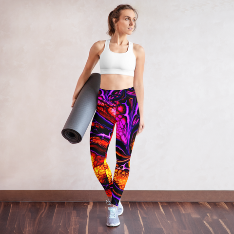 Woman posing in custom acrylic print high waist yoga leggings and sports bra during a workout.
