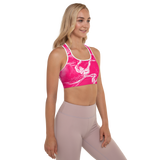 Blonde Fitness model in pink, Breast Cancer Awareness, custom, padded sports bra