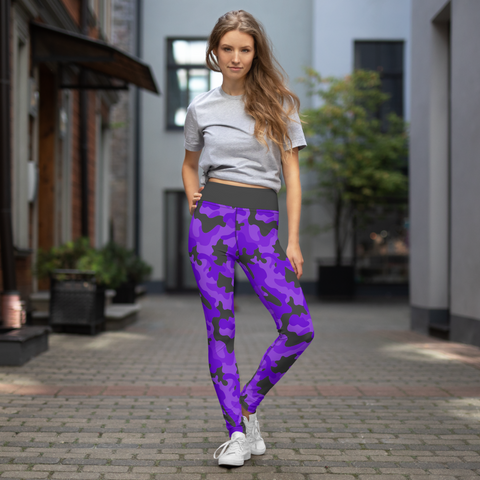 Camo Running Leggings - Purple & Gray