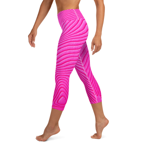 high waist, hot pink, custom line design, capri yoga leggings