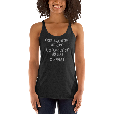"""Training Advice"" Racerback Tank"