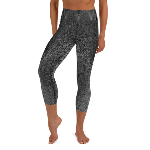 Custom high waist black capri workout leggings