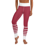 Striped Yoga Leggings - Crimson and White