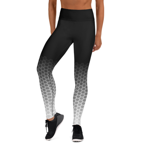 Woman posing in custom high waist black and white yoga pants