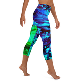 high waist capri yoga leggings. custom tropical, blue, green design