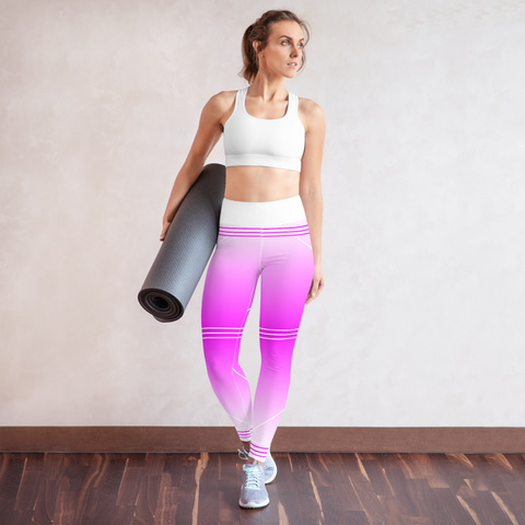 BuckleyBear Tri-Line Leggings - Pink and White