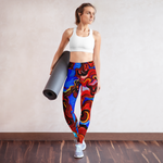 Woman posing in custom high waisted colorful yoga pants and sports bra