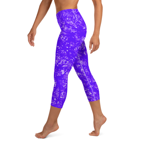 Graffiti Capri Leggings - Purple