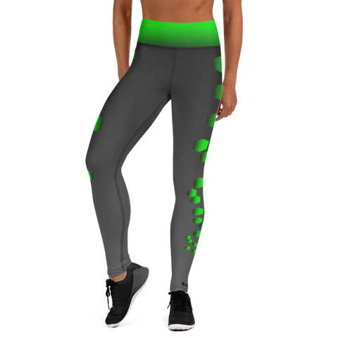 Dex Yoga Leggings - Charcoal and Green