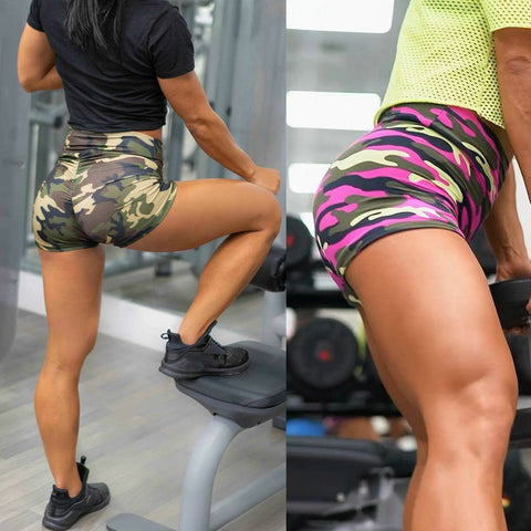 Fitness models in camo fitness shorts
