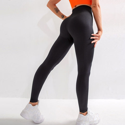 Black high waist workout leggings designed to provide maximum support and comfort. On sale at BuckleyBear.com
