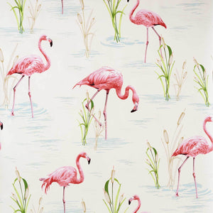 Flamingo Wallpaper retro tropical pink toile